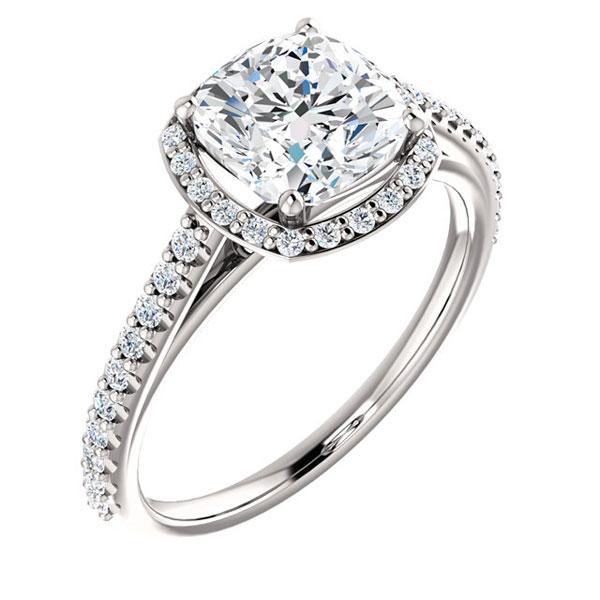 122063 Diamontrigue Jewelry: Stuller, Cushion, Halo, Pave Band