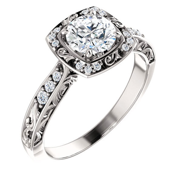 Gel1107 Diamontrigue Jewelry: Stuller, Cushion, Halo, Pave Band