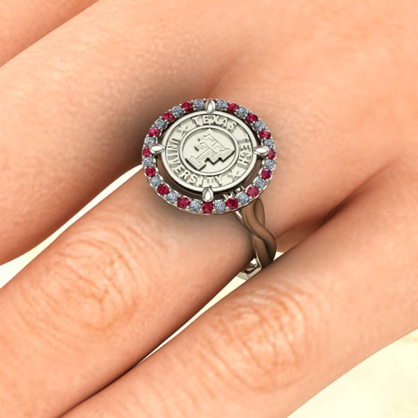 Texas Tech Halo with a Twist Ladies Ring