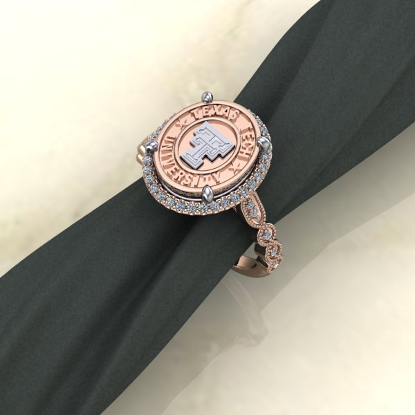 Texas Tech Jewelry Diamontrigue Jewelry: Texas Tech Rose Gold Vintage Halo Ladies Ring