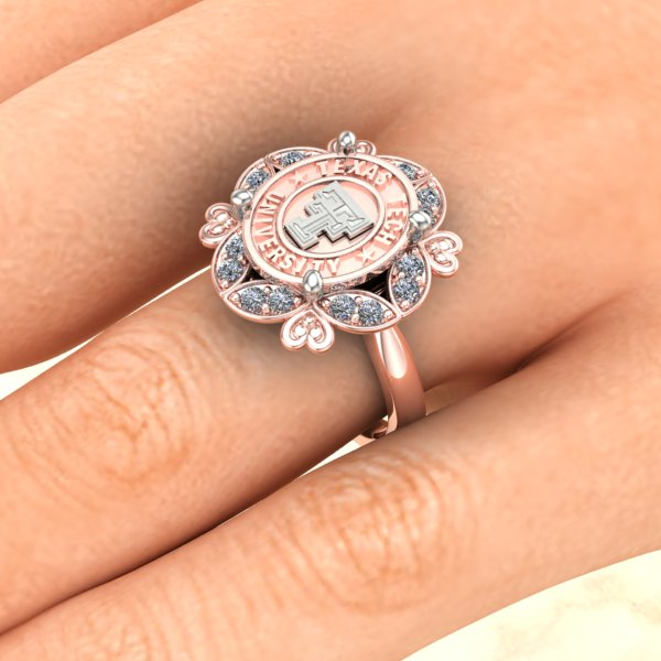 Texas Tech Hearts and Flowers Ring