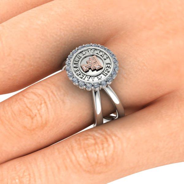 Texas Tech Criss Cross Halo Ring